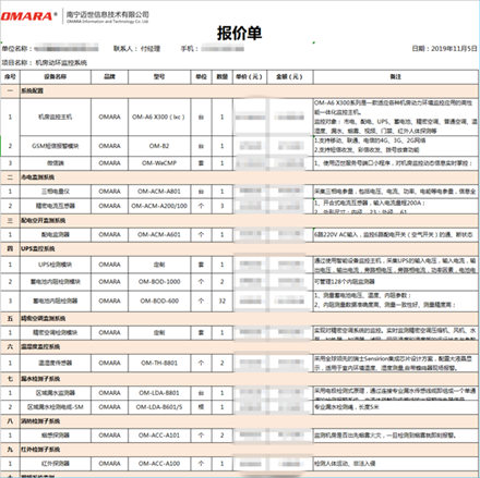 标准的机房动环监控系统报价清单配置表